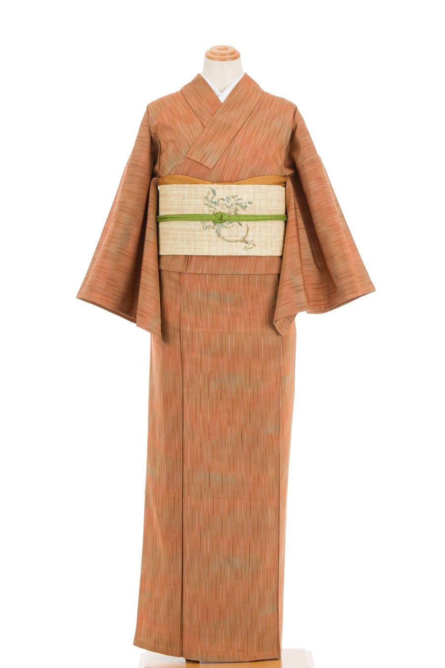 「単衣 紬 赤茶暈し」の商品画像
