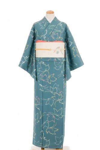 単衣 緑青色 蝶々のサムネイル画像