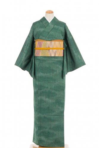 単衣 紬 緑暈し ゆったりサイズのサムネイル画像