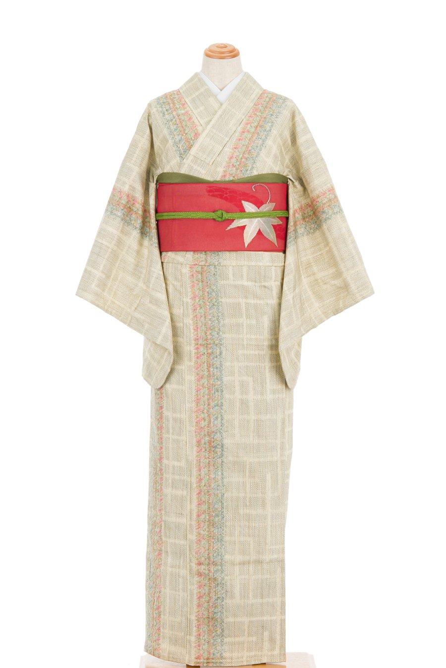 「単衣 紬 赤青混じりの縞」の商品画像