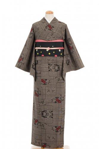 単衣 大島紬 赤い百合のサムネイル画像