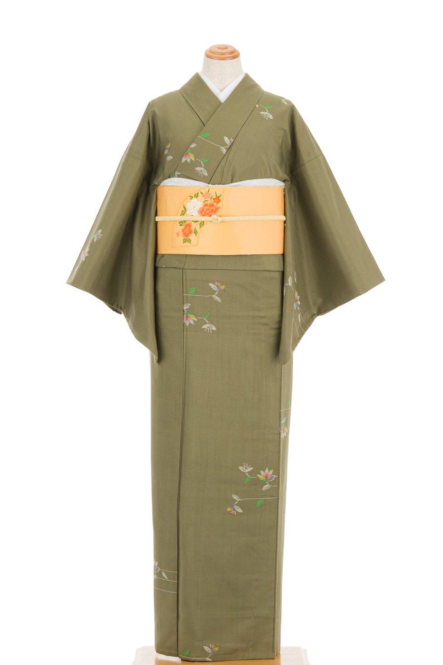 「単衣 紬 横向きの花」の商品画像