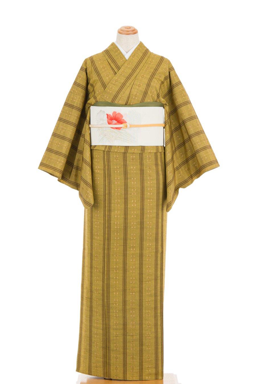 「単衣 紬 菜種油色地に細縞」の商品画像