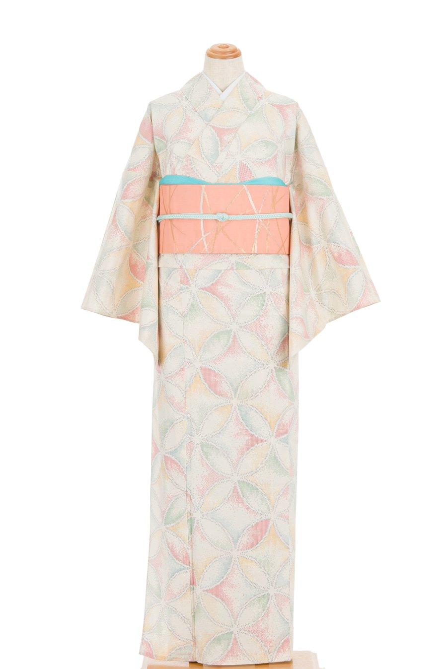 「単衣 紬 パステルカラーの七宝」の商品画像