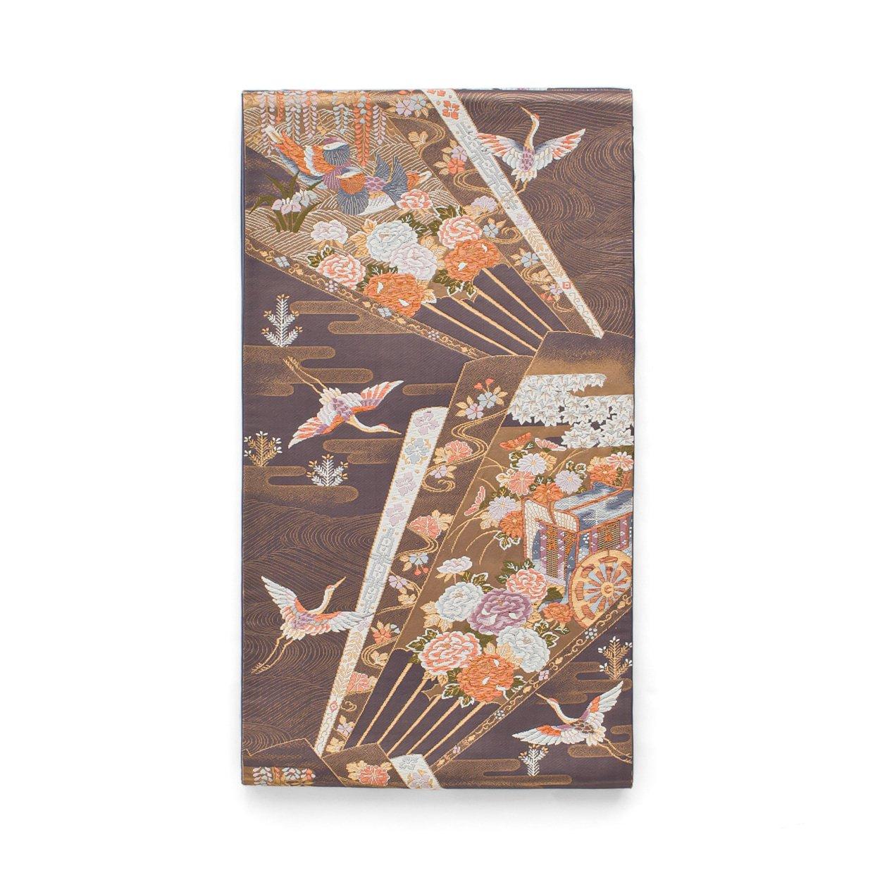「袋帯●扇に御所車 空舞う鶴」の商品画像