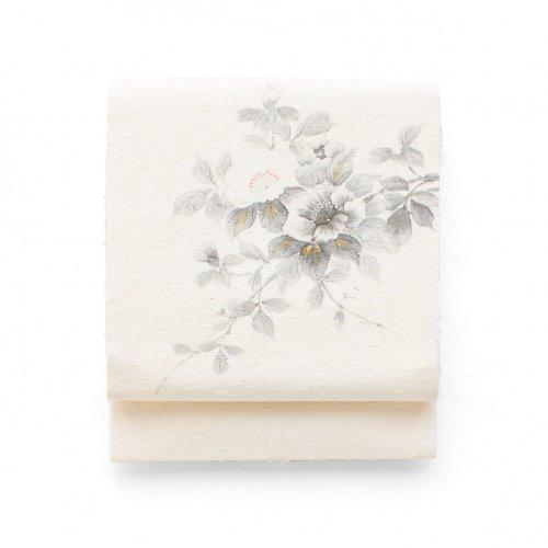 ひげ紬 手描き 白花のサムネイル画像