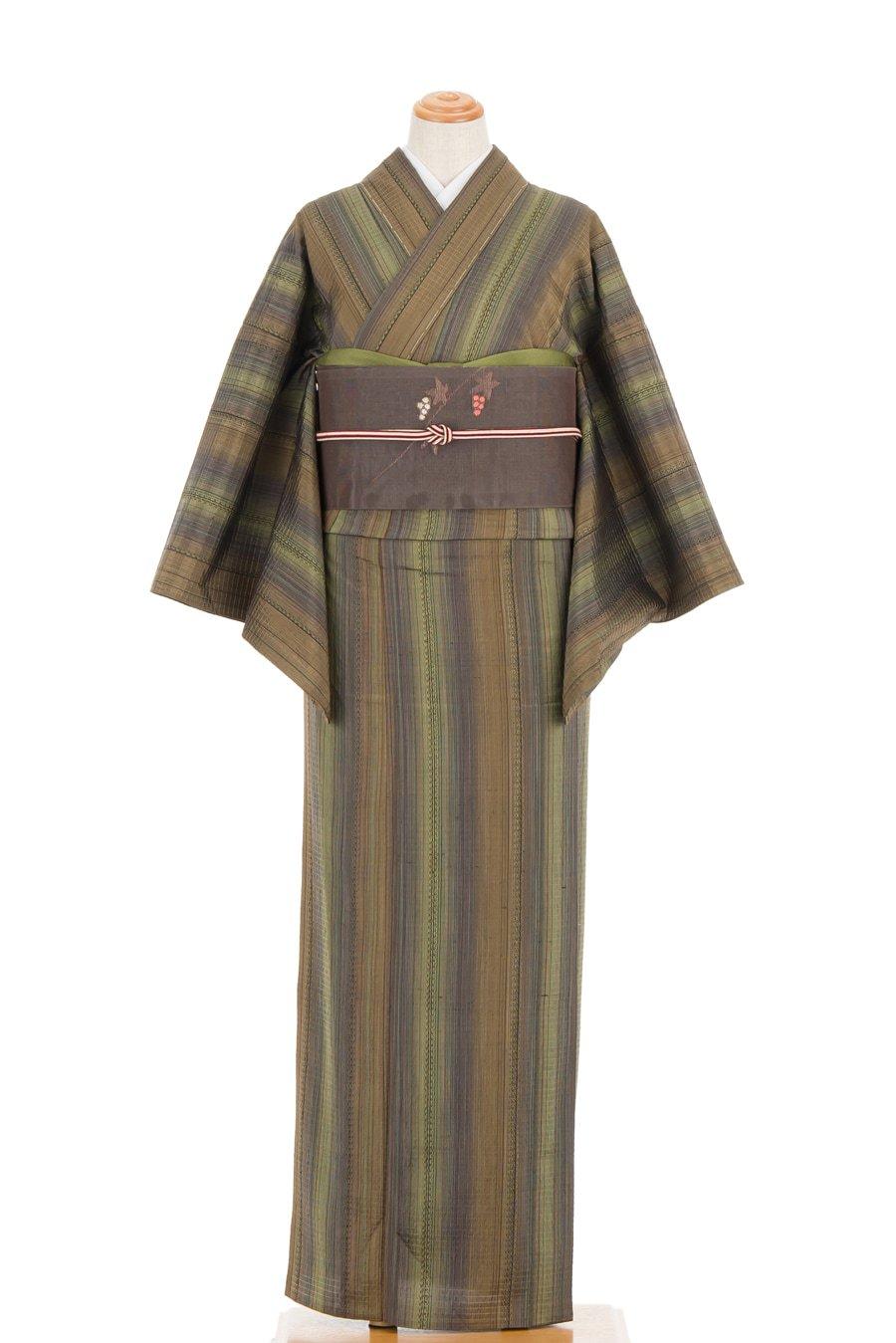 「単衣 焦げ茶や緑の暈し縞」の商品画像