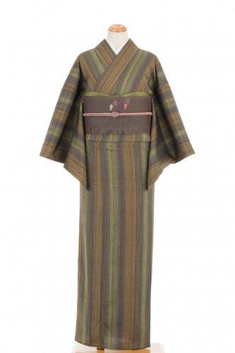 単衣 焦げ茶や緑の暈し縞のサムネイル画像