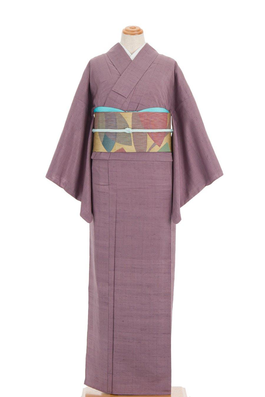 「単衣 紬色無地 一つ紋 紅藤」の商品画像