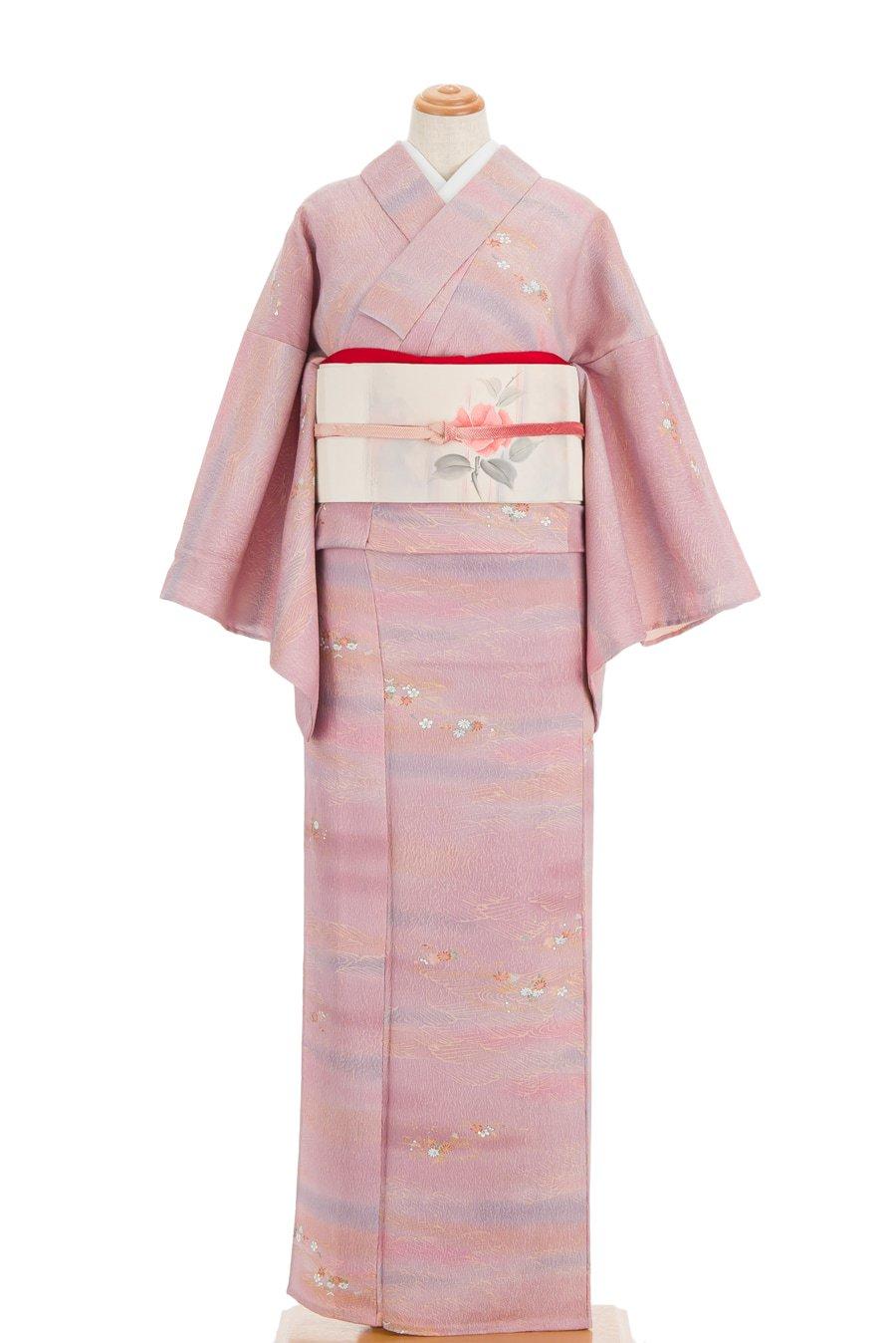 「単衣 ピンク暈しに菊や紅葉など」の商品画像