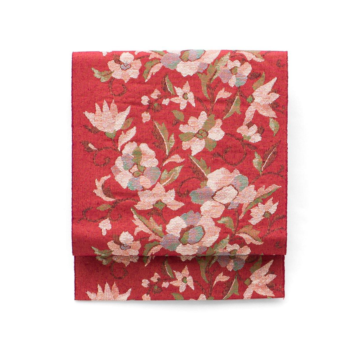 「紬 赤茶色 花模様」の商品画像