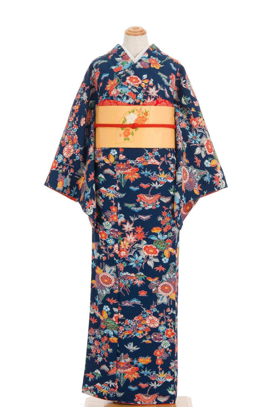 「紺地 紅型 梅 菊 牡丹など」の商品画像