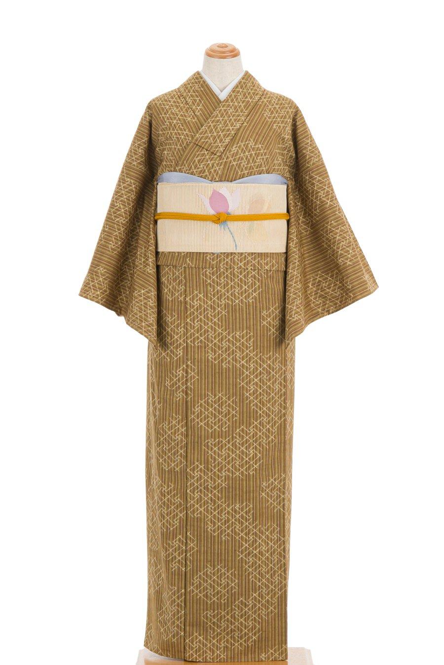 「単衣 紬 細縞に紗綾型」の商品画像