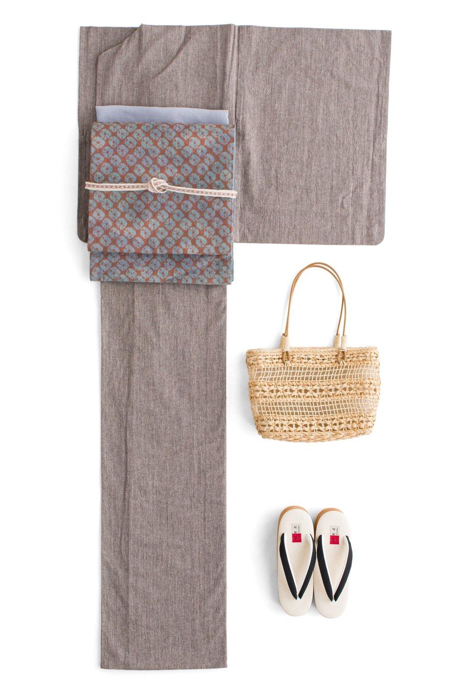 「新品 単衣無地木綿着物 アッシュブラウン」の商品画像