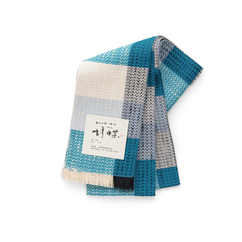 「宝来織 四寸帯 ピーコックブルーの格子」の商品画像