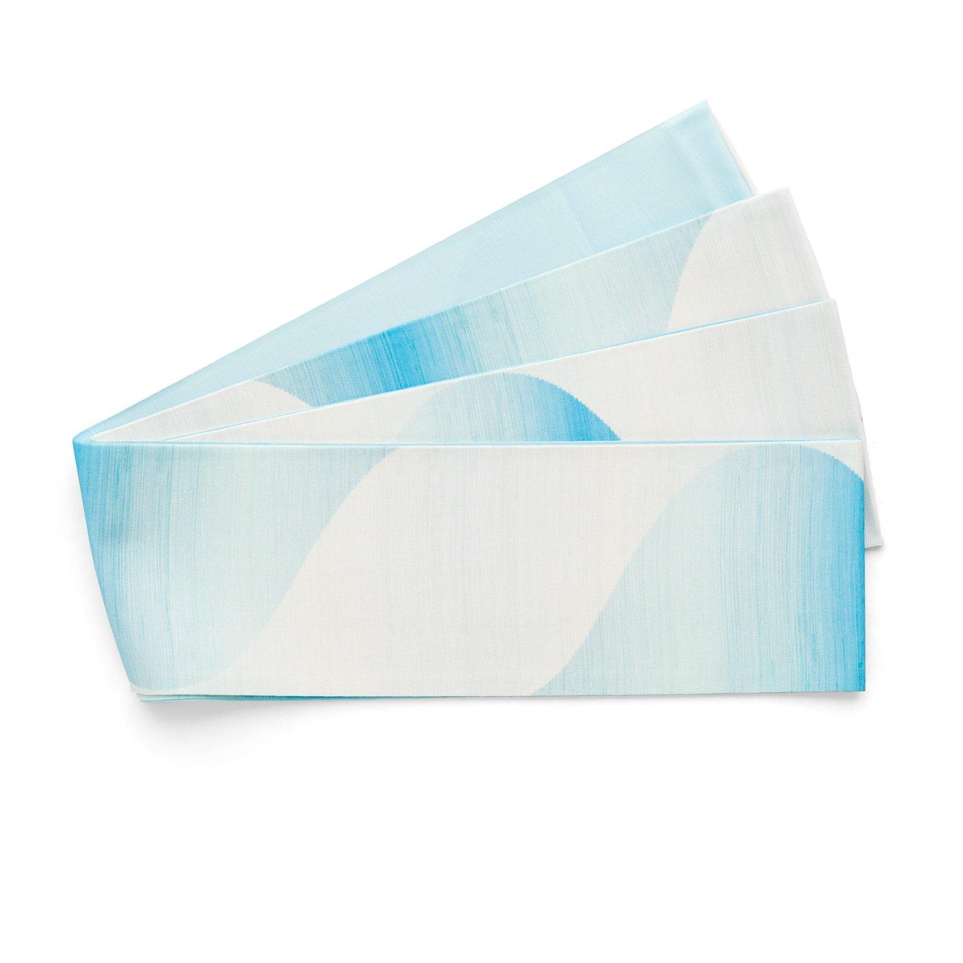 「長尺半幅帯 曲線暈し 水色」の商品画像