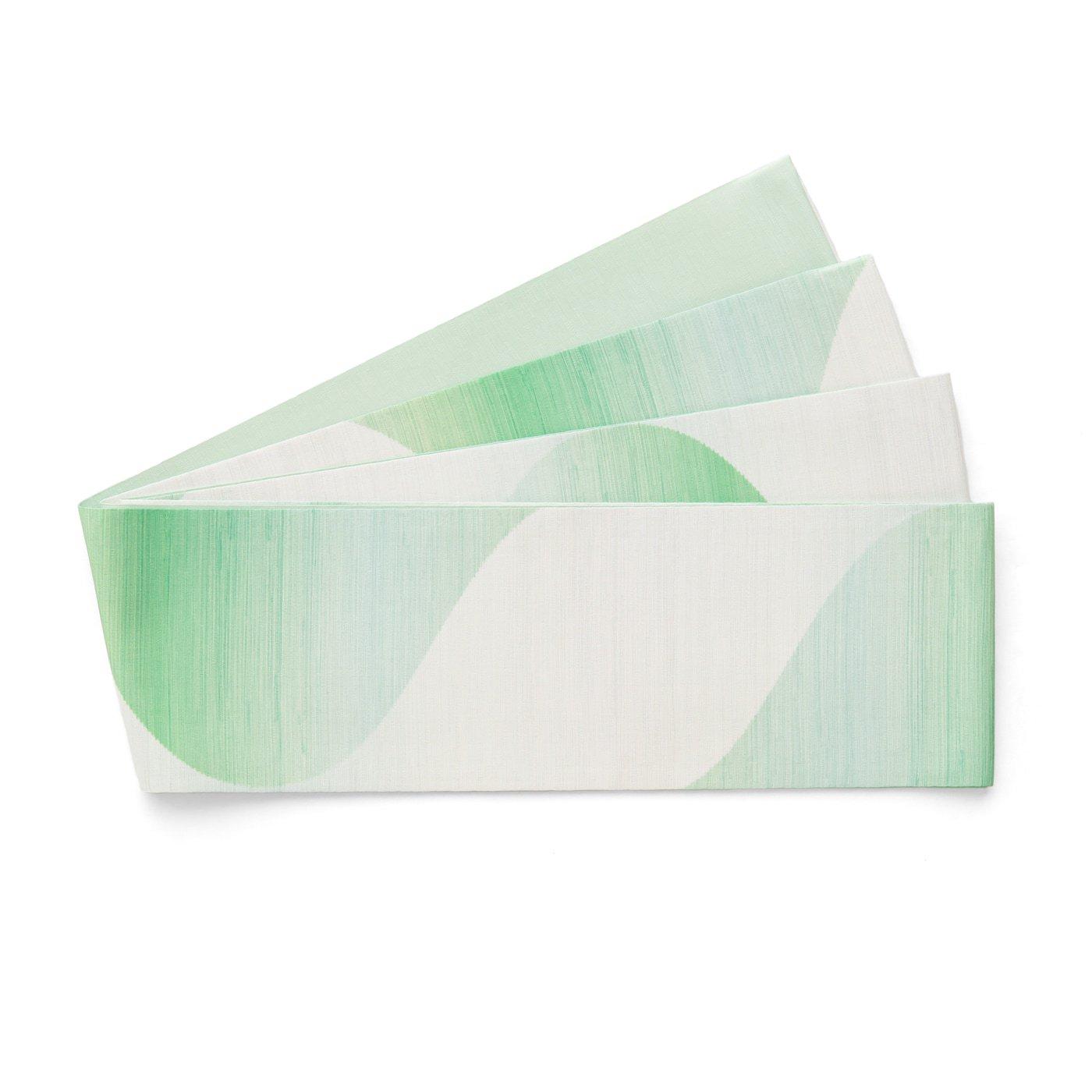 「長尺半幅帯 曲線暈し グリーン」の商品画像