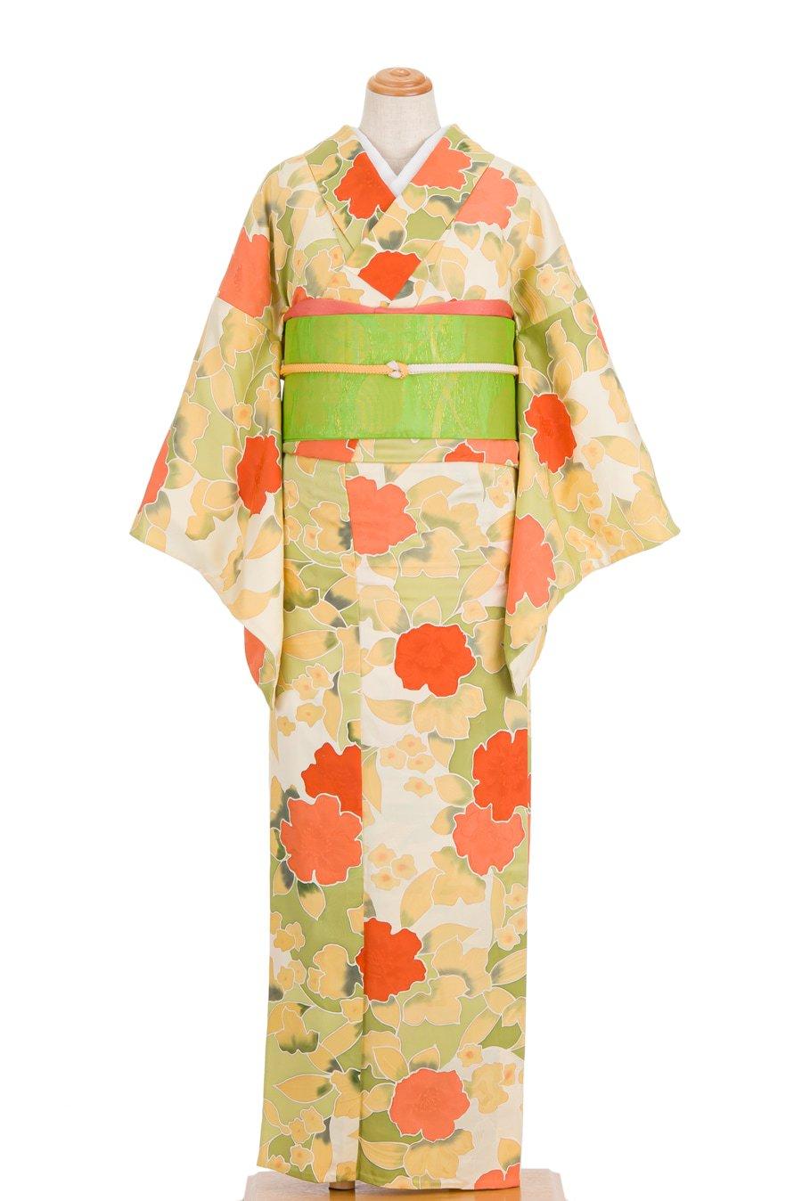 「単衣 地紋起こし オレンジの花」の商品画像