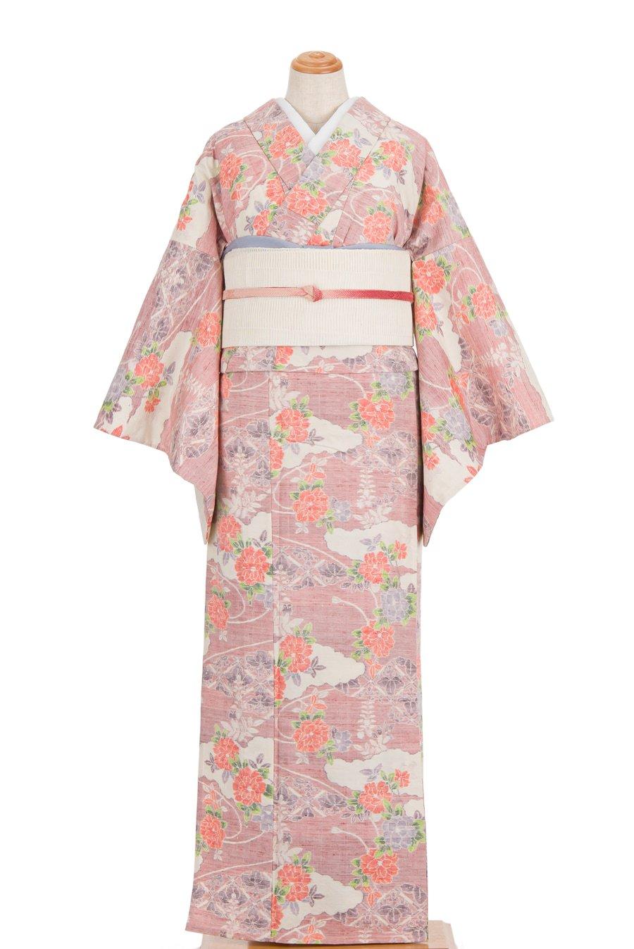 「単衣 紬 雲取りに菊や藤」の商品画像