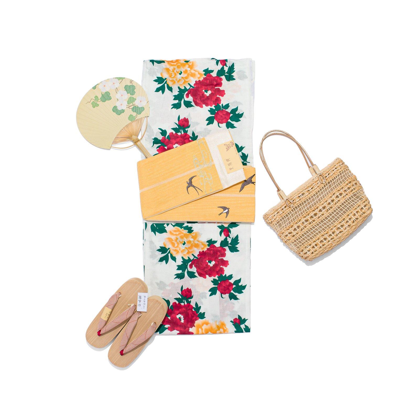 「新品浴衣 綿麻 黄色と赤の牡丹」の商品画像