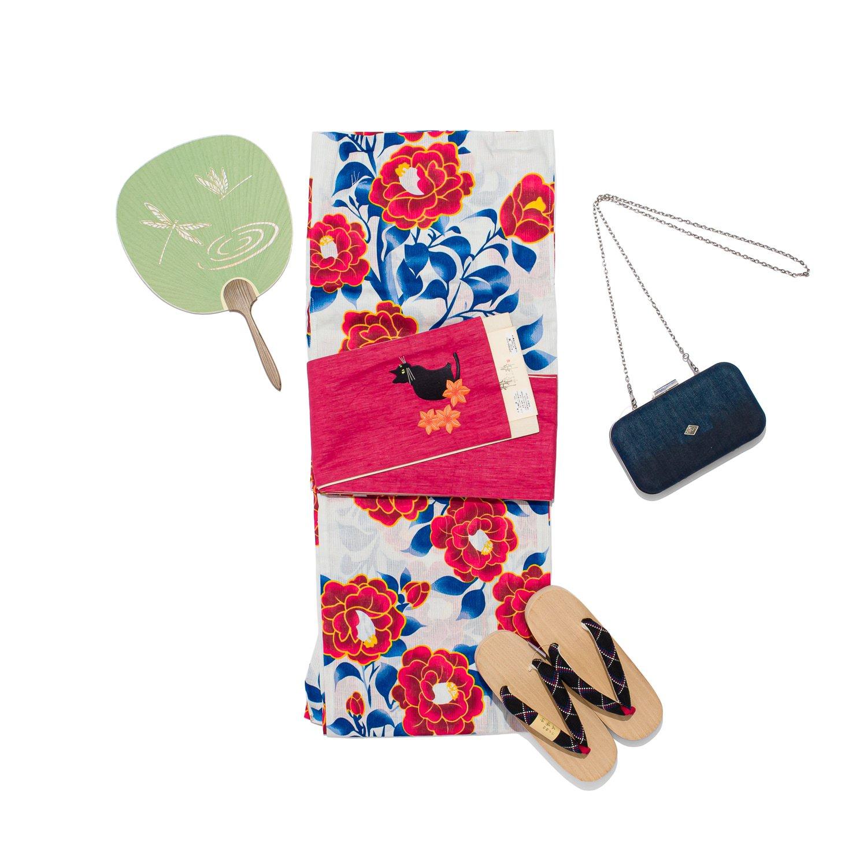 「新品浴衣 綿麻 赤い椿」の商品画像