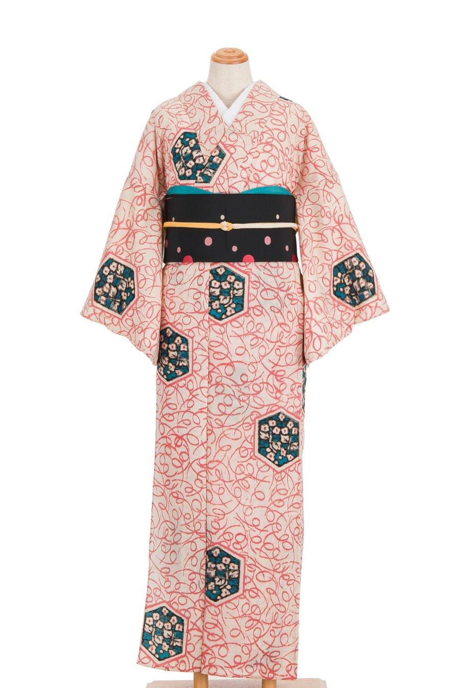 「単衣 アンティーク 亀甲に花」の商品画像