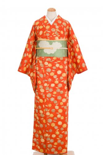 柿色地 菊と紅葉のサムネイル画像