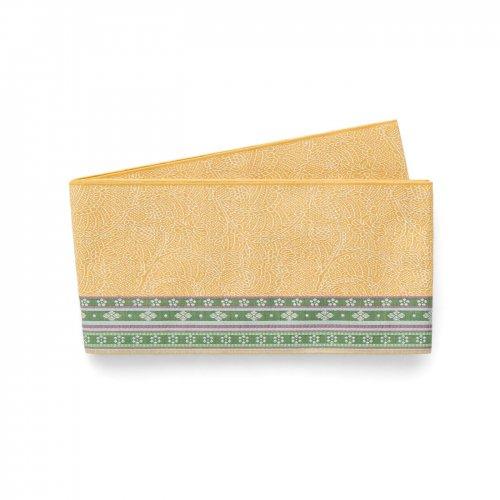 博多小袋帯 黄土色 緑の細縞のサムネイル画像