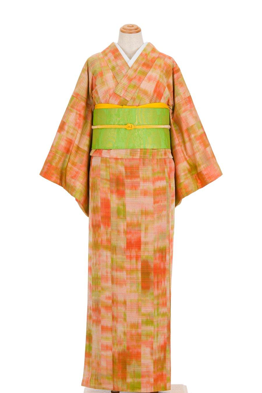 「単衣 紬 オレンジと黄緑」の商品画像
