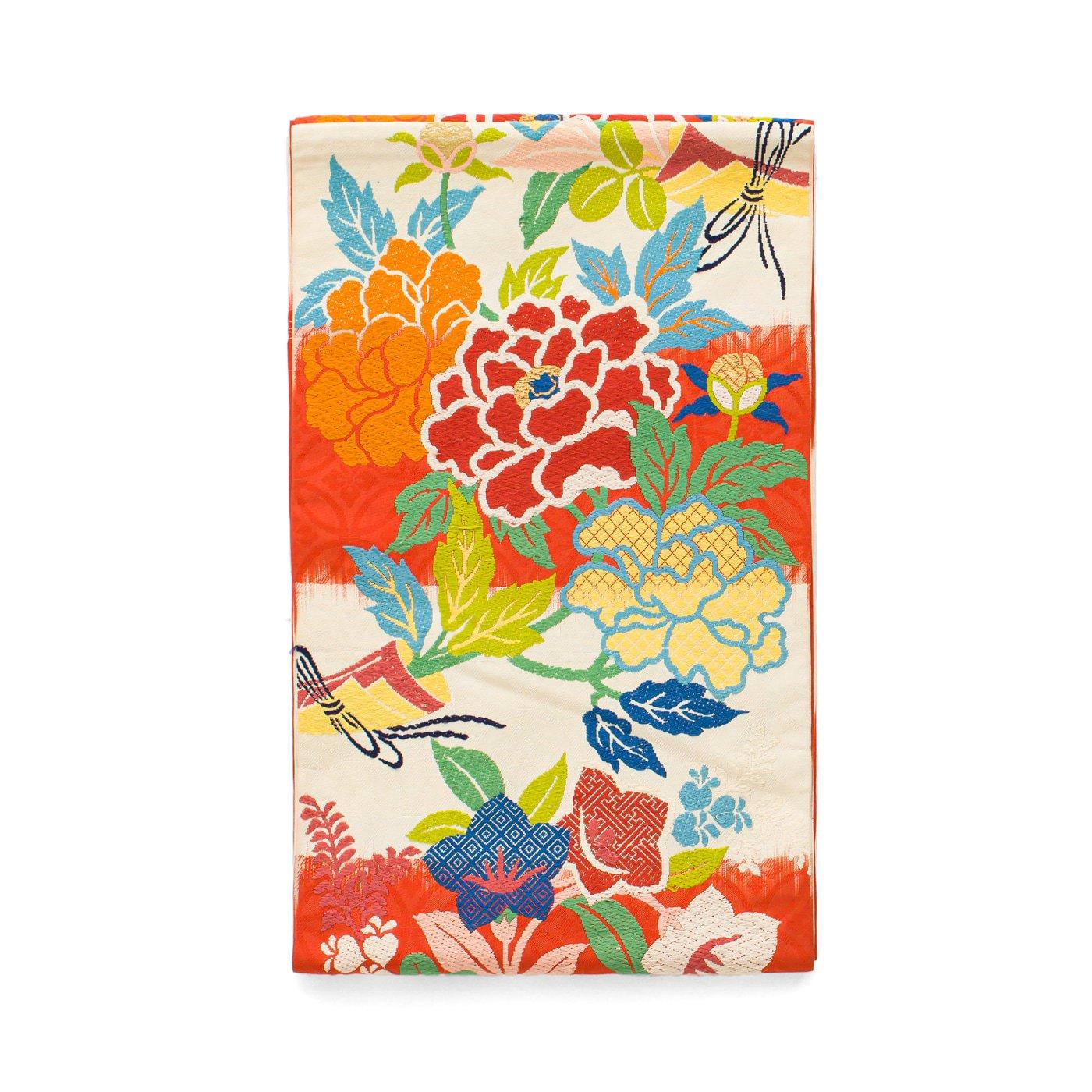 「袋帯●アンティーク着物 桔梗と牡丹」の商品画像