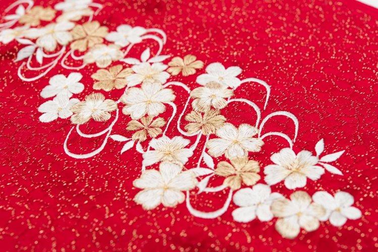 新品帯揚げ 刺繍 桜流水 赤のサムネイル画像