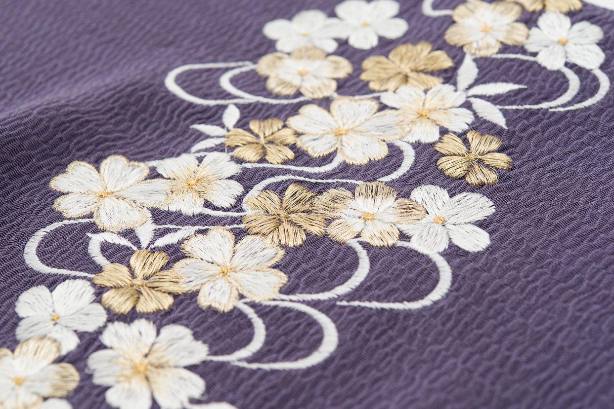 「新品帯揚げ 刺繍 桜流水 竜胆」の商品画像