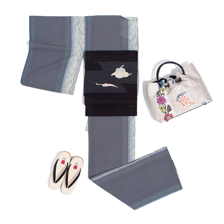 「新品 洗える着物 紗 モノトーンの縞 M」の商品画像