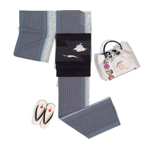 新品 洗える着物 紗 モノトーンの縞 Mのサムネイル画像