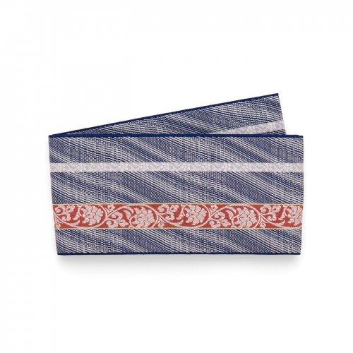 博多小袋帯 曲線と唐花縞 紺のサムネイル画像