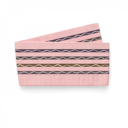 博多小袋帯 ピンクに黒ボーダー 曲線のサムネイル画像
