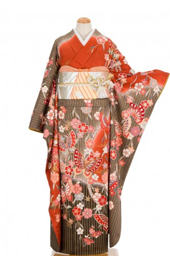 振袖 枝垂れ桜と蝶 トールサイズ 裄長のサムネイル画像