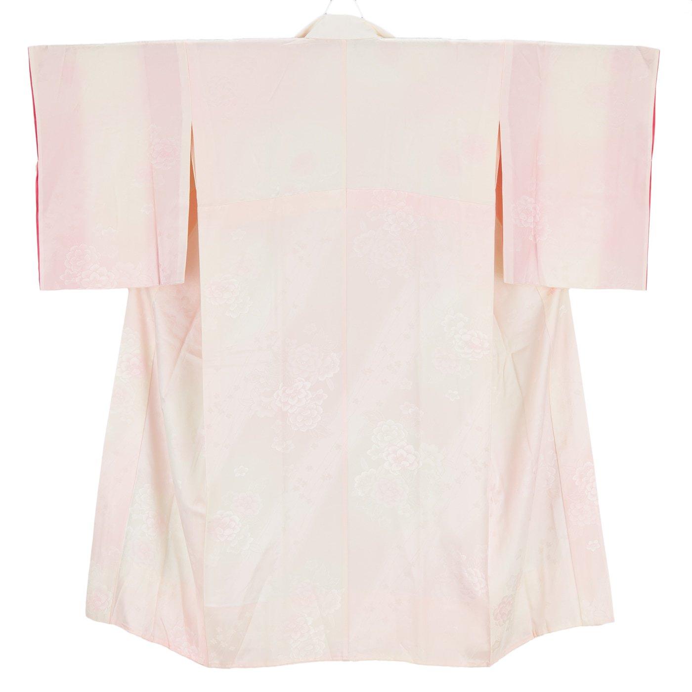 「長襦袢 ピンク暈し 牡丹」の商品画像