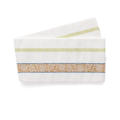 博多小袋帯 曲線と唐花縞 白のサムネイル画像