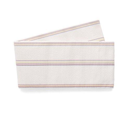 博多小袋帯 華紋と縞 白のサムネイル画像