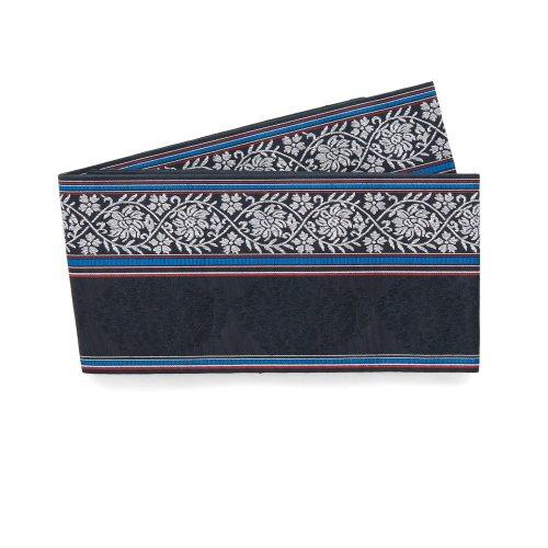 博多小袋帯 華紋と縞 黒のサムネイル画像