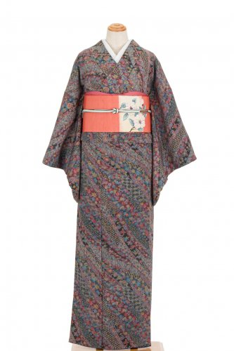 セミアンティーク着物 カラフル熨斗模様のサムネイル画像
