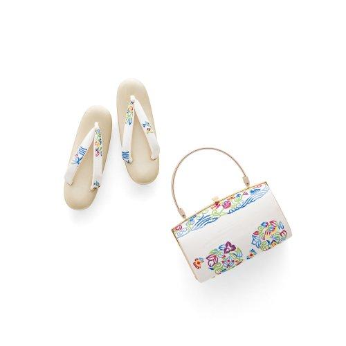草履バッグセット カラフルな波と花のサムネイル画像