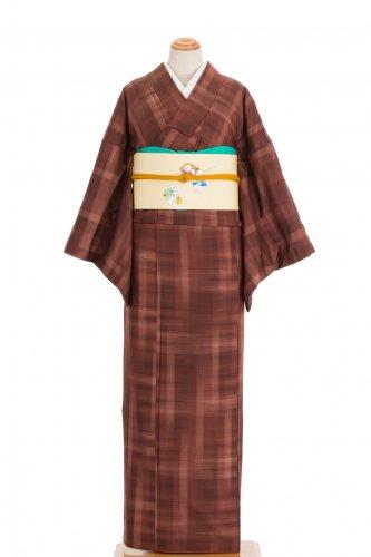 紬 赤茶の暈し格子のサムネイル画像