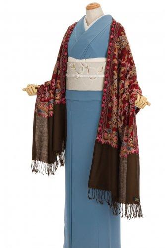 ウール100%大判ショール カシミール刺繍 小花や葉のサムネイル画像