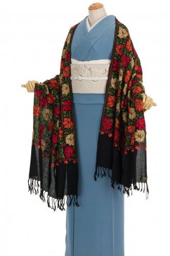 ウール100%大判ショール カシミール刺繍 大輪花のサムネイル画像