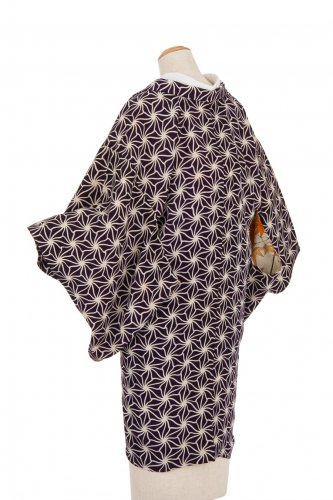 アンティーク着物 濃紫に白の麻の葉