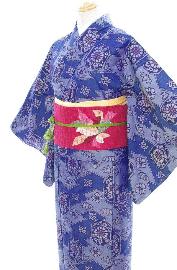「2点セット*唐花などの紬にリボンのような花織り出し帯」の商品画像