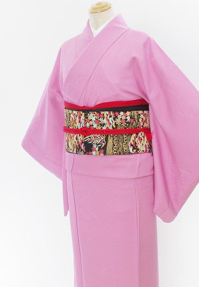 「フォーマル2点セット*ピンクパープルの色無地 松梅紅葉などの袋帯」の商品画像