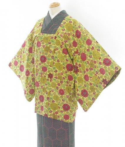 黄色地 デフォルメされた菊・もみし・梅などのサムネイル画像